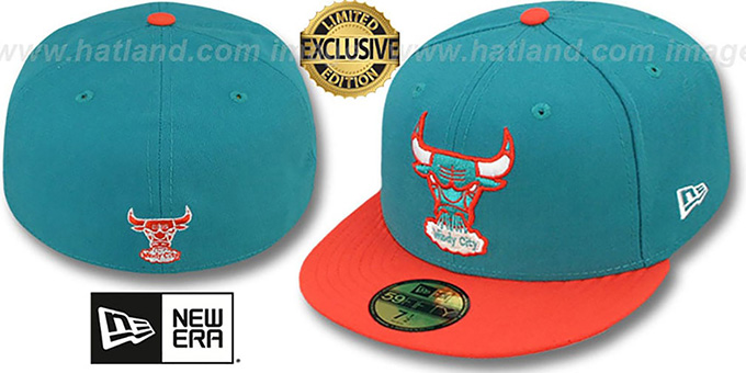 Bulls '2T FASHION' Aqua-Orange Fitted Hat by New Era : pictured without stickers that these products are shipped with