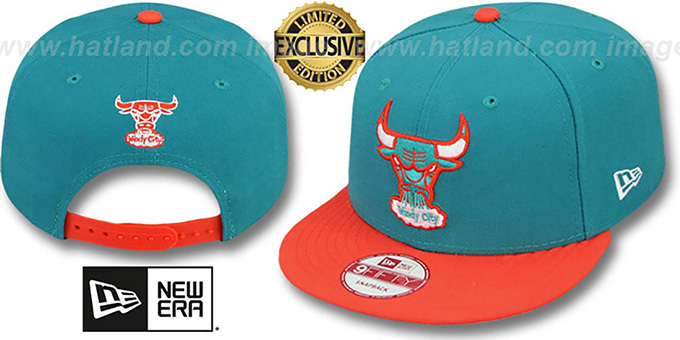 Bulls '2T FASHION SNAPBACK' Aqua-Orange Hat by New Era : pictured without stickers that these products are shipped with