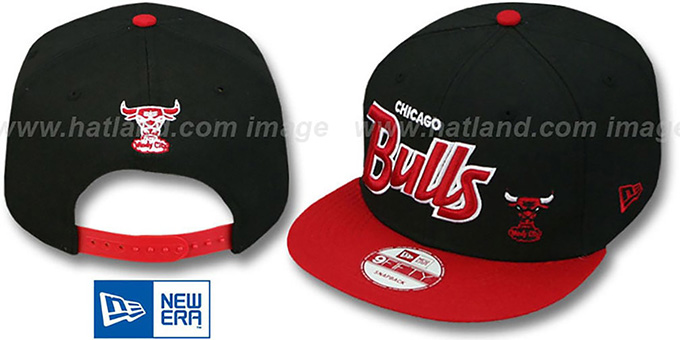 Bulls '2T FLAWLESS-SCRIPT SNAPBACK' Black-Red Adjustable Hat by New Era : pictured without stickers that these products are shipped with