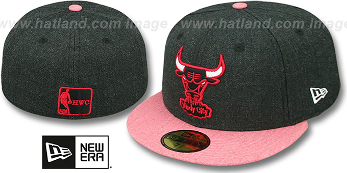 Bulls '2T-HEATHER ACTION' Charcoal-Red Fitted Hat by New Era : pictured without stickers that these products are shipped with