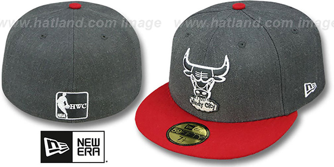 Bulls '2T-HEATHER' Charcoal-Red Fitted Hat by New Era : pictured without stickers that these products are shipped with