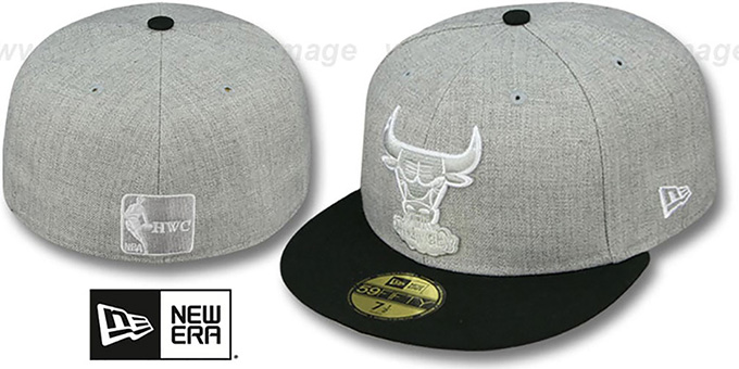 Bulls '2T-HEATHER' Grey-Black Fitted Hat by New Era : pictured without stickers that these products are shipped with