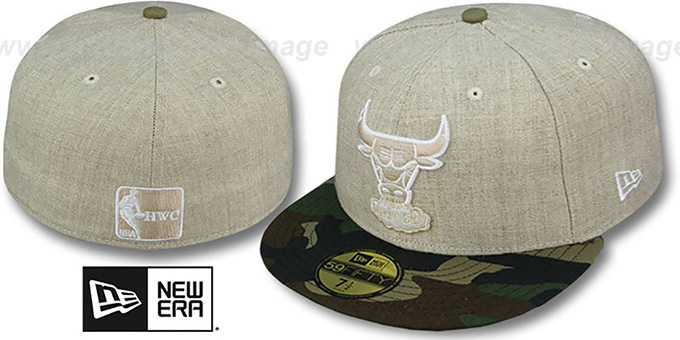 Bulls '2T-HEATHER' Oatmeal-Army Fitted Hat by New Era : pictured without stickers that these products are shipped with