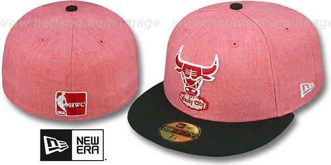 Bulls '2T-HEATHER' Red-Black Fitted Hat by New Era : pictured without stickers that these products are shipped with