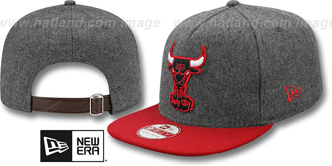 Bulls '2T MELTON A-FRAME STRAPBACK' Hat by New Era : pictured without stickers that these products are shipped with