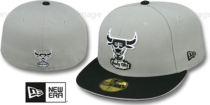 Bulls '2T SPLIT HWC TEAM-BASIC' Grey-Black Fitted Hat by New Era : pictured without stickers that these products are shipped with