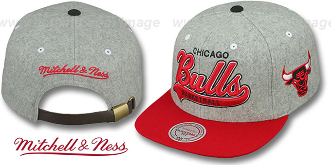 Bulls '2T TAILSWEEPER STRAPBACK' Grey-Red Hat by Mitchell & Ness : pictured without stickers that these products are shipped with