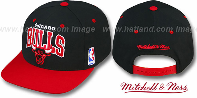 Bulls '2T TEAM ARCH SNAPBACK' Adjustable Hat by Mitchell & Ness : pictured without stickers that these products are shipped with