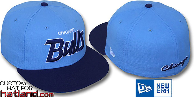 Bulls '2T TEAM-SCRIPT' Sky-Navy Fitted Hat by New Era : pictured without stickers that these products are shipped with