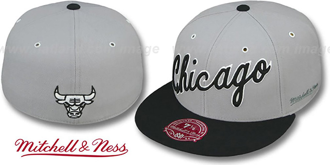 Bulls '2T XL-WORDMARK' Grey-Black Fitted Hat by Mitchell & Ness : pictured without stickers that these products are shipped with