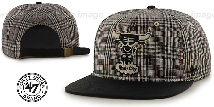 Bulls '60-MINUTES STRAPBACK' Black Hat by Twins 47 Brand : pictured without stickers that these products are shipped with