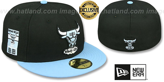 Bulls 6X 'BANNER SIDE-PATCH' Black-Sky Fitted Hat by New Era : pictured without stickers that these products are shipped with