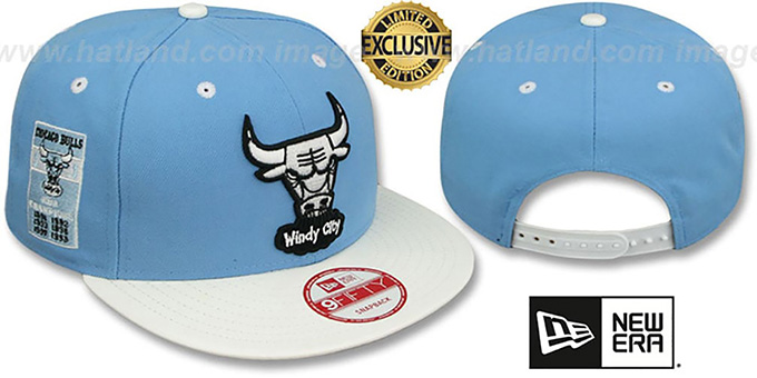 Bulls 6X 'BANNER SIDE-PATCH SNAPBACK' Sky-White Hat by New Era : pictured without stickers that these products are shipped with