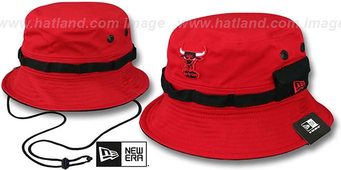 Bulls 'ADVENTURE' Red Bucket Hat by New Era : pictured without stickers that these products are shipped with