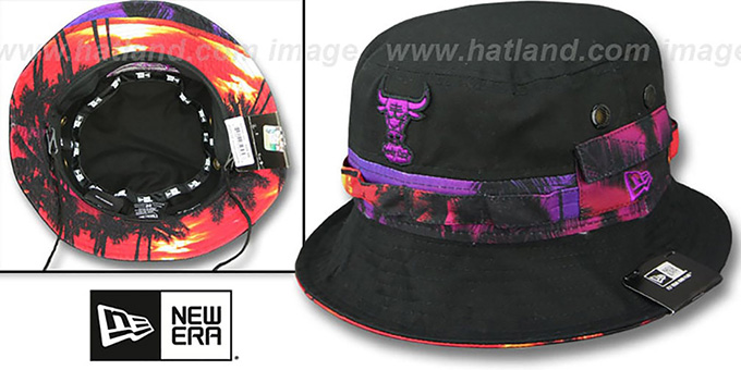 Bulls 'ADVENTURE SUNSET' Black Bucket Hat by New Era : pictured without stickers that these products are shipped with