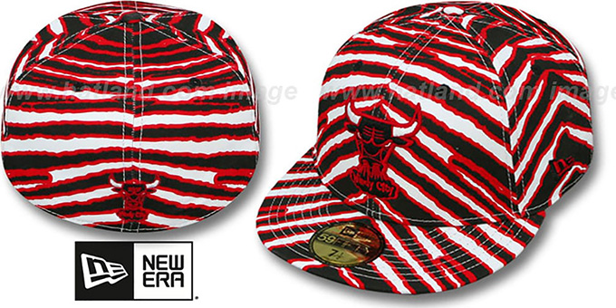 Bulls 'ALL-OVER ZUBAZ' Fitted Hat by New Era : pictured without stickers that these products are shipped with