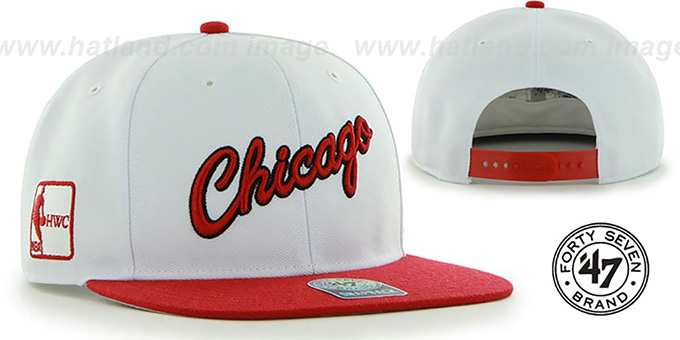 Bulls ALT 'SURE-SHOT SNAPBACK' White-Red Hat by Twins 47 Brand : pictured without stickers that these products are shipped with