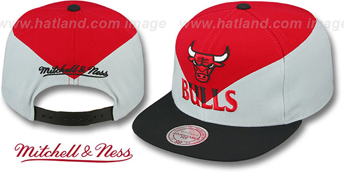 Bulls 'AMPLIFY DIAMOND SNAPBACK' Red-Grey Hat by Mitchell and Ness : pictured without stickers that these products are shipped with