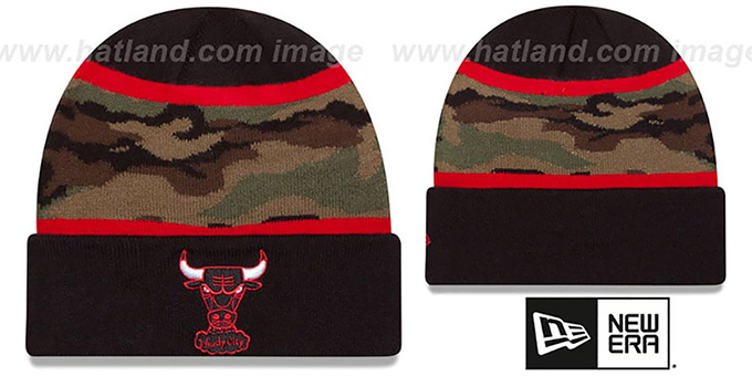 Bulls 'ARMY CAMO FILLZ' Knit Beanie Hat by New Era : pictured without stickers that these products are shipped with