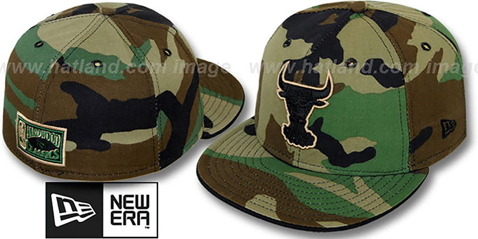 Bulls 'ARMY CAMO' Fitted Hat by New Era : pictured without stickers that these products are shipped with
