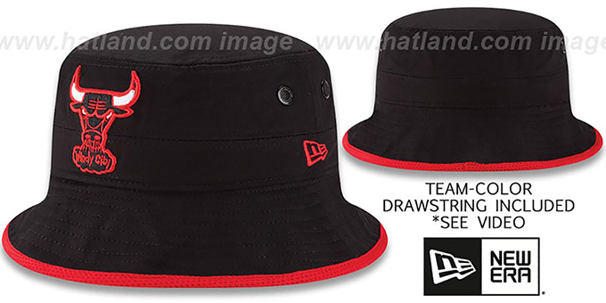 Bulls 'BASIC-ACTION' Black Bucket Hat by New Era : pictured without stickers that these products are shipped with