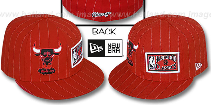 Bulls 'BIG-ONE DOUBLE WHAMMY' Red-White Fitted Hat : pictured without stickers that these products are shipped with