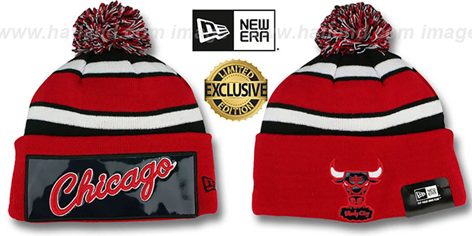 Bulls 'BIG-SCREEN' Red-Black Knit Beanie Hat by New Era : pictured without stickers that these products are shipped with