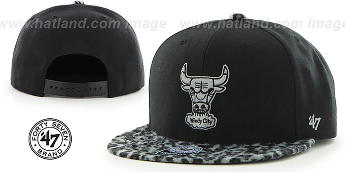 Bulls 'BLACK LEOPARD SNAPBACK' Hat by Twins 47 Brand : pictured without stickers that these products are shipped with