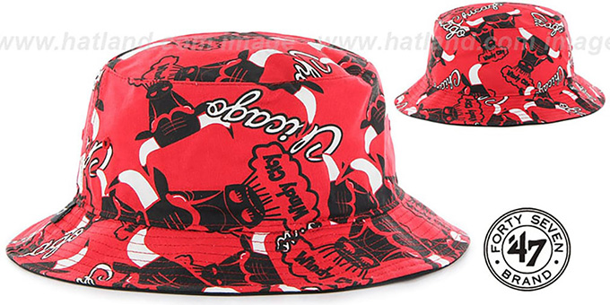 Bulls 'BRAVADO BUCKET' Hat by Twins 47 Brand : pictured without stickers that these products are shipped with