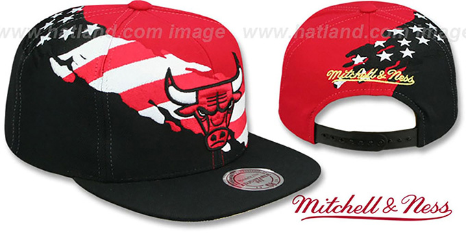 f6df49b1a68 Bulls  BRUSHED FLAG SNAPBACK  Red-Black Hat by Mitchell and Ness