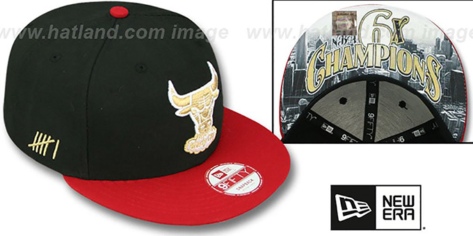 Bulls 'CHAMPS-HASH SNAPBACK' Black-Red Hat by New Era : pictured without stickers that these products are shipped with