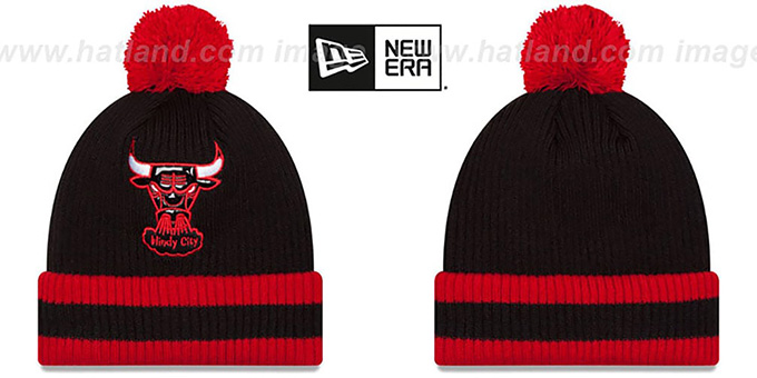 Bulls 'CHILLER FILLER BEANIE' Black-Red by New Era : pictured without stickers that these products are shipped with