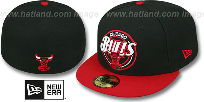 Bulls 'CIRCLE-CLOSER' Black-Red Fitted Hat by New Era : pictured without stickers that these products are shipped with