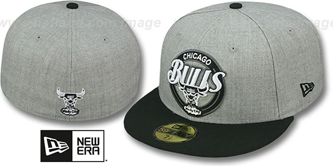 Bulls 'CIRCLE-CLOSER' Grey-Black Fitted Hat by New Era : pictured without stickers that these products are shipped with