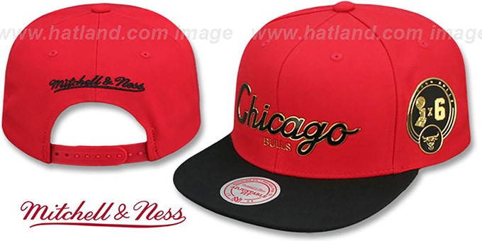 e10002cdf08a8 Bulls  CITY CHAMPS SCRIPT SNAPBACK  Red-Black Hat by Mitchell ...