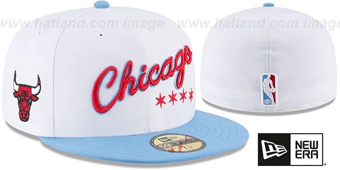 Bulls 'CITY-SERIES' White-Sky Fitted Hat by New Era : pictured without stickers that these products are shipped with