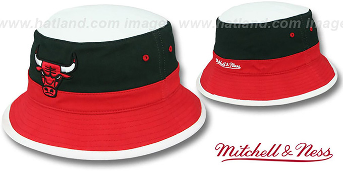 Bulls 'COLOR-BLOCK BUCKET' White-Black-Red Hat by Mitchell and Ness : pictured without stickers that these products are shipped with