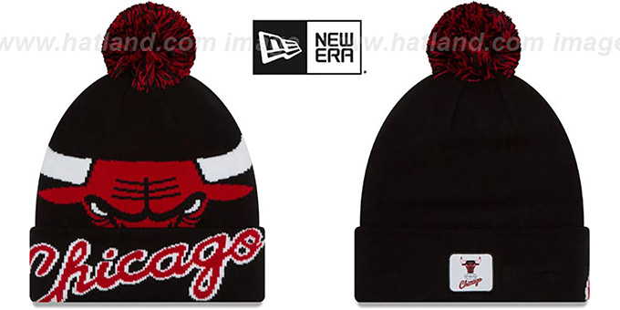 Bulls 'COLOSSAL-TEAM' Black Knit Beanie Hat by New Era : pictured without stickers that these products are shipped with
