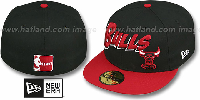 Bulls 'COMIC-WORD' Black-Red Fitted Hat by New Era : pictured without stickers that these products are shipped with