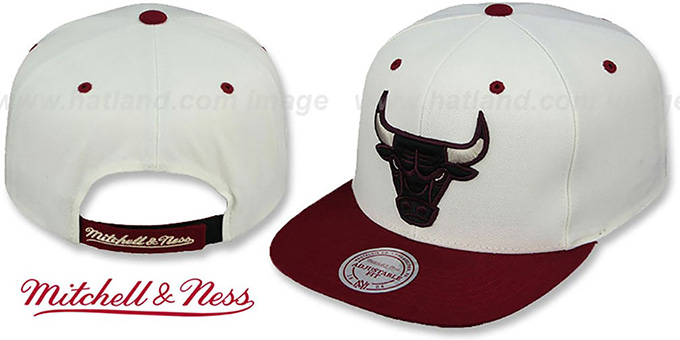 Bulls 'CREAMTOP STRAPBACK' Hat by Mitchell and Ness : pictured without stickers that these products are shipped with