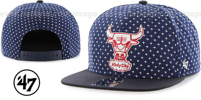 Bulls 'CROSSBREED SNAPBACK' Navy Hat by Twins 47 Brand : pictured without stickers that these products are shipped with