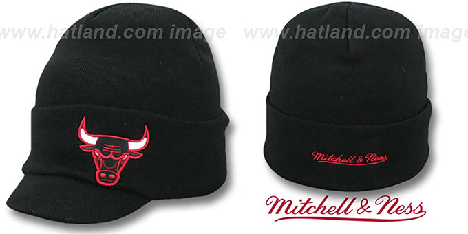 Bulls 'CUFFED-VISOR KNIT BEANIE' Black Hat by Mitchell and Ness : pictured without stickers that these products are shipped with