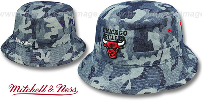 Bulls 'DENIM-CAMO BUCKET' Blue Hat by Mitchell and Ness : pictured without stickers that these products are shipped with