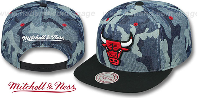 Bulls 'DENIM-CAMO SNAPBACK' Blue Hat by Mitchell and Ness : pictured without stickers that these products are shipped with