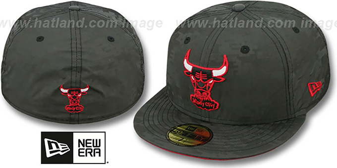 Bulls 'DIGIFLECT' Black Fitted Hat by New Era : pictured without stickers that these products are shipped with
