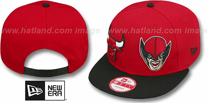 Bulls 'DOUBLE-WHAM WOLVERINE SNAPBACK' Hat by New Era : pictured without stickers that these products are shipped with