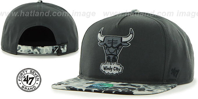 Bulls 'DRYTOP STRAPBACK' Grey-Black Hat by Twins 47 Brand : pictured without stickers that these products are shipped with