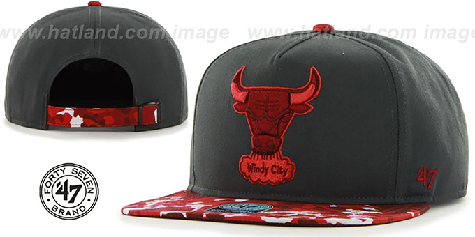 Bulls 'DRYTOP STRAPBACK' Grey-Red Hat by Twins 47 Brand : pictured without stickers that these products are shipped with