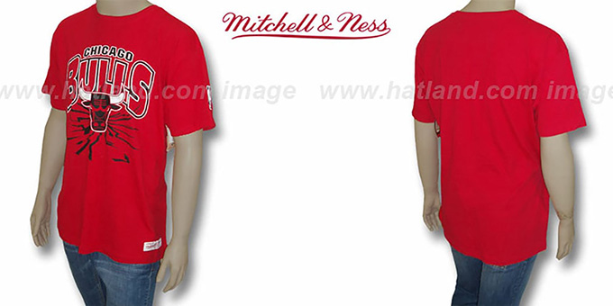 Bulls 'EARTHQUAKE' Red T-Shirt by Mitchell & Ness : pictured without stickers that these products are shipped with