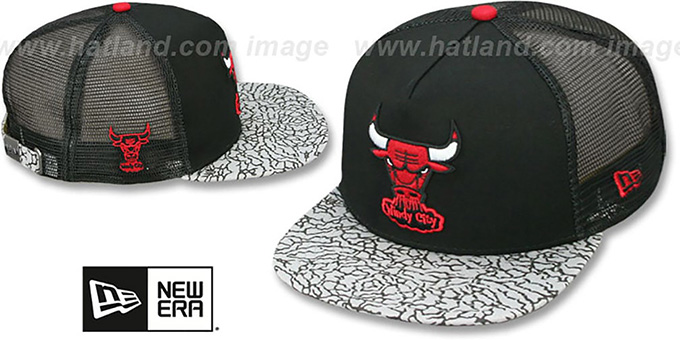 Bulls 'ELEPHANT-HOOK STRAPBACK' Black-Black Hat by New Era : pictured without stickers that these products are shipped with